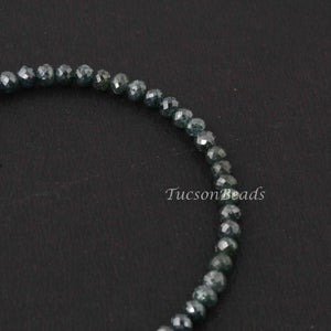 32.5 Ct 1 Long Strand Blue Diamond  1mm Large Big Hole Rondelles Genuine Diamond Beads 8 Inch Long BDU012 - Tucson Beads