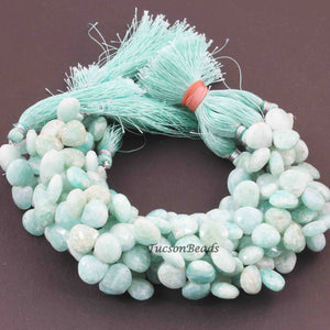 1 Strand Amazonite Faceted Heart Briolettes - Amazonite Heart Shape Beads 10mmx10mm 8.5 Inches BR1735 - Tucson Beads