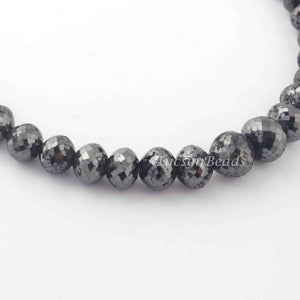 312 Ct 1 Long Strand Black Diamond  1mm Large Big Hole Rondelles Genuine Diamond Beads 18 Inch Long BDU005 - Tucson Beads