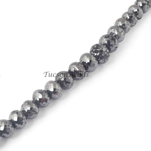 310 Ct 1 Long Strand Black Diamond  1mm Large Big Hole Rondelles Genuine Diamond Beads 18 Inch Long BDU006 - Tucson Beads