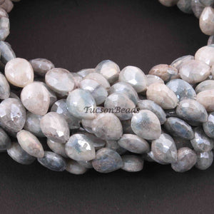 1 Long Strand Gray Moonstone Silver Coated  Faceted  Briolettes - Oval Shape Beads Briolettes  10mmx8mm-11mmx9mm 15 inches BR3199 - Tucson Beads