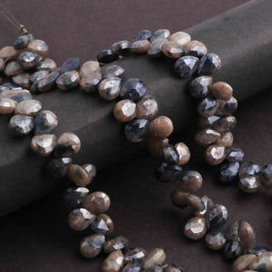 1 Long Strand Gray Silverite  Faceted Pear Drop Briolettes  -  Silverite  Briolettes 8mm-6mm 8 Inches long BR118 - Tucson Beads