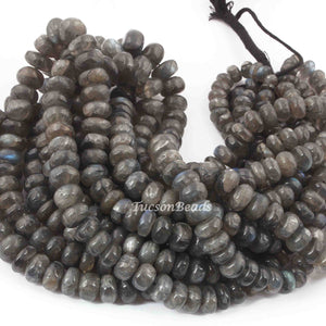 1  Strand Labradorite Smooth Roundels - Smooth Roundels Beads 6mm-13mm 18 Inches long BR3135 - Tucson Beads