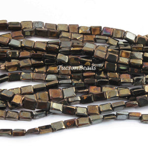 1 Strand Black Spinel Golden Coated  Faceted Chicklet / Rectangle Briolettes 6mmx4mm 8 Inches BR716 - Tucson Beads