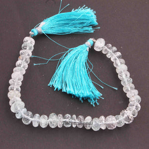 1 Strand Genuine Blue Topaz Faceted Rondelles- Rondelles Beads 9mmx5mm-8mmx6mm- 8 Inches BR721 - Tucson Beads