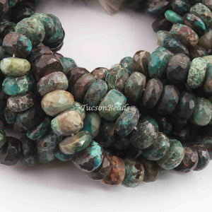 1 Strand Chrysocolla Faceted Briolettes - Chrysocolla Rondelles Beads 8mm 10 Inches BR761 - Tucson Beads