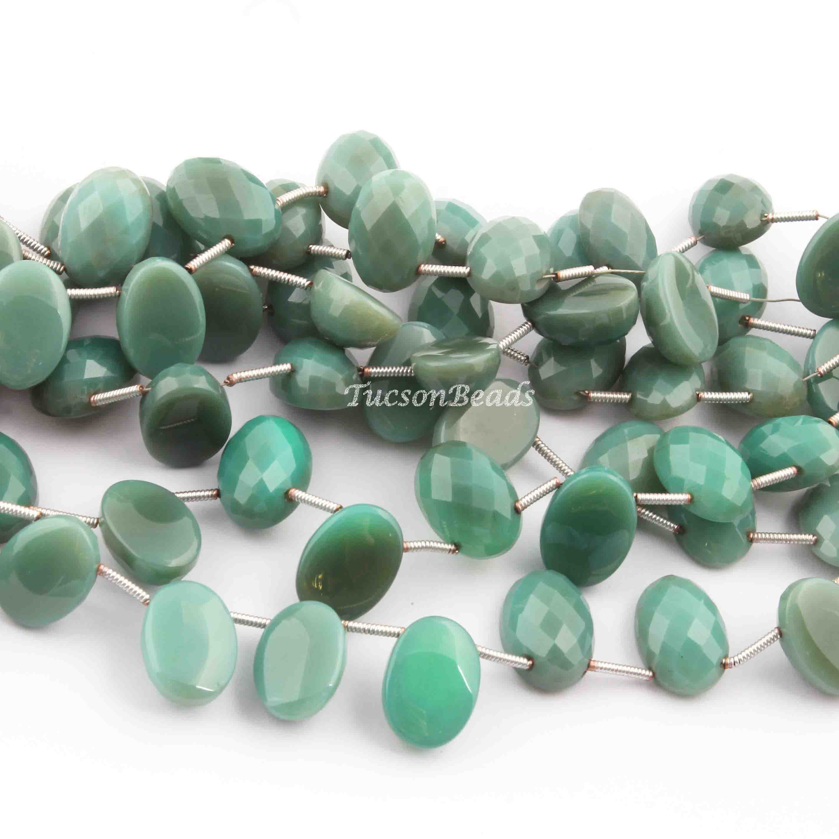 1 Strand Prehnite Faceted Briolettes Tear Beads 12mmx8mm-15mmx10mm 9 Inches SP359