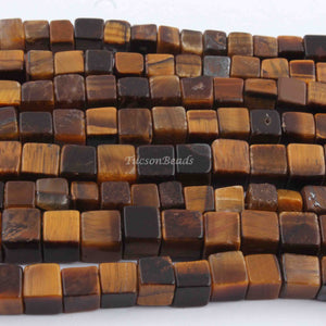 1 Long  Strand Brown Tiger Eye Cube Briolettes - Box Shape Beads 5mm-7mm  8 Inches BR1764 - Tucson Beads