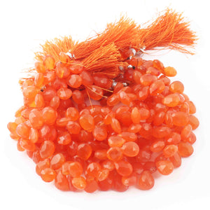1 Strand Carnelian Faceted Briolettes -Pear Briolettes  10mmx9mm-12mmx8mm 9 Inches BR3794 - Tucson Beads