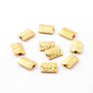 2 Strands Gold Plated Designer Copper Rectangle Scratch Bar Shape Beads,Jewelry Making 13mmx9mm 8 inches BulkLot GPC683
