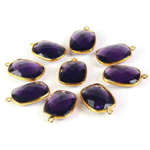 5 Pcs Amethyst Faceted Rectangle Shape 24k Gold Plated Pendant 25mmx16mm PC208 - Tucson Beads
