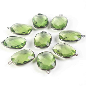 23 Pcs Green Amethyst Oxidized Silver Plated Faceted Rectangle Shape Connector /Pendant 28mx16mm-24mmx16mm PC577 - Tucson Beads