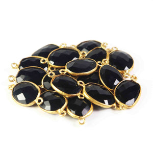 19 Pcs Black Onyx Faceted 24k Gold Plated Oval Shape Double Bail Connector -22mmx13mm-20mmx12mm  PC559