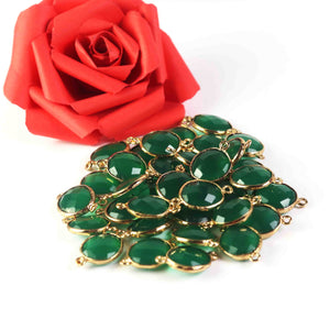 35 Pcs Green Onyx Faceted Oval Shape Connector 24k Gold Plated 20mmx12mm PC552 - Tucson Beads