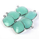 6 Pcs Aqua Chalcedony Faceted Oxidized Silver Plated Rectangle Shape Pendant 24mmx16mm PC563 - Tucson Beads