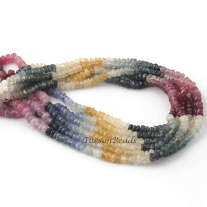 1 Strand Multi Sapphire Rondelles - Micro Faceted Wonderful Round Gemstone Beads 3mm-4mm 15.5 Inch  BR3732 - Tucson Beads