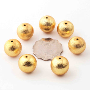 2 Strand Gold Plated Designer Copper Balls,Casting Copper Balls,Jewelry Making Supplies 16 mm 8 inches Bulk Lot GPC662 - Tucson Beads