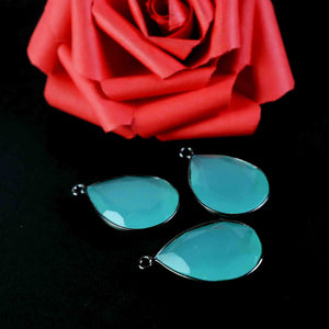 3 Pc Aqua Chalcedony Oxidized Silver Plated Faceted Pear Drop Single Bail Pendant 27mmx17mm PC562