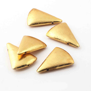 5 Pcs Brushed Gold Copper Triangle Spacer Beads 29mmx12mm GPC299 - Tucson Beads
