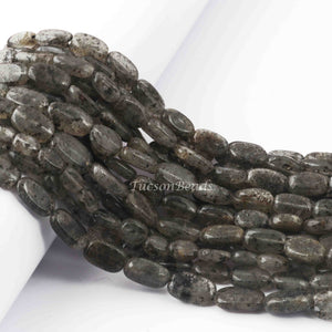 1  Long Strand Black Rutile Smooth Briolettes  -Oval Shape Briolettes  8mmx7mm - 7mmx7mm -13 Inches BR2477 - Tucson Beads