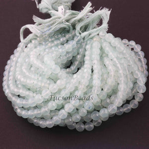 1 Strand  Green Chalcedony  Smooth Rondelles Beads - Ball Beads 6mm-7mm 8 Inches  BR2462 - Tucson Beads