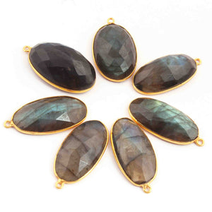 14 Pcs Labradorite Blue Flash 24k Gold Plated  Faceted Oval Shape Gemstone Bezel Single Bail Pendant - 30mmx16mm  PC591 - Tucson Beads