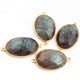 4 Pcs Labradorite Oval Shape 24k  Gold Plated Double Bail Connector - Labradorite Faceted Oval Shape Connector 33mmx18mm PC617 - Tucson Beads