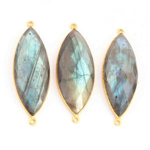 3 Pcs Labradorite Marquise Shape 24k  Gold Plated Double Bail Connector - Labradorite Faceted Marquise Shape Connector 48mmx16mm PC642 - Tucson Beads