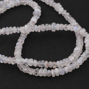 1 Strand White Rainbow Moonstone faceted Rondelles - Rondelle Beads 3mm-5mm 19 Inches BR3847 - Tucson Beads