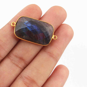 5 Pcs Labradorite Rectangle Shape 24k  Gold Plated Double Bail Connector - Labradorite Faceted Rectangle Shape Connector 26mmx16mm PC641 - Tucson Beads