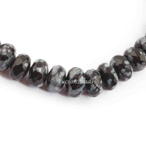 1 Strand Genuine Natural Snowflake Obsidian Gemstone Rondelles Beads -  Faceted Rondelles 9mm BR2288 - Tucson Beads