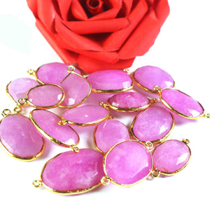 10 Pcs Pink Chalcedony Gold Plated Faceted Assorted Shape Pendant / Connector  PC550 - Tucson Beads