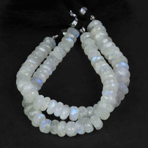 1 Strand White Rainbow Moonstone Faceted Rondelles Beads, Blue Flash Fire Rainbow Moonstone Round Beads 8mm-11mm 9 Inches BR779 - Tucson Beads