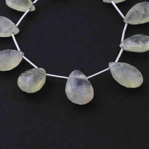 1 Strand Prehnite Pear Drop Faceted Briolettes - Prehnite Briolettes 16mmx9mm-18mmx12mm 7 Inches BR3646 - Tucson Beads