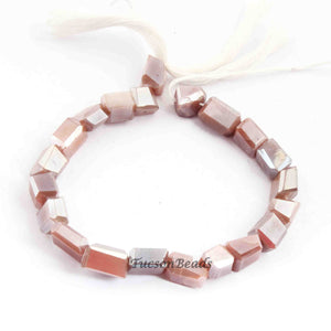 1 Long Strand Peach Moonstone Silver Coated Faceted Nuggets Beads  - 9mmx6mm-11mmx7mm 7 Inches BR2776 - Tucson Beads