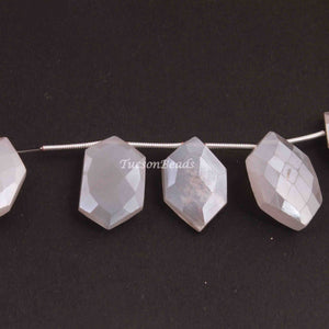 1 Strand White Rainbow Moonstone Silver Coated  Faceted Briolettes  -Fancy Shape Briolettes  - 15mmx9mm-20mmx10mm  -8 Inches BR3251 - Tucson Beads