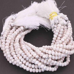 1 Strand White Silver Coated Faceted Rondelles  - Gemstone Rondelles 6mm 8 Inches BR3579 - Tucson Beads