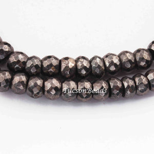 1 Strand Black Pyrite  Faceted Rondelles - pyrite Faceted Beads 7mm-8mm 8 Inches BR3519 - Tucson Beads