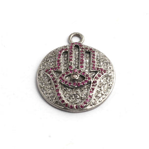 1 Pc Antique Finish Pave Diamond Round with Hamsa Ruby Charm 925 Sterling Silver Pendant - 26mmx22mm PDC1352 - Tucson Beads