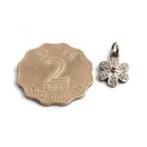 1 Pc Pave Diamond Flower With Ruby Charm Pendant 925 Sterling Silver Single Bail Pendant - Diamond Flower Pendant 15mmx1mm PDC1363 - Tucson Beads