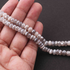 1 Strand Gray Moonstone Silver Coated Faceted Rondelles -Rondelle Beads 6mm- 7 Inches BR3607 - Tucson Beads