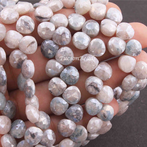 1 Strands  Grey Silverite Faceted Briolettes - Heart Shape  Briolettes - 8mm-9mm 8 Inches BR3562 - Tucson Beads