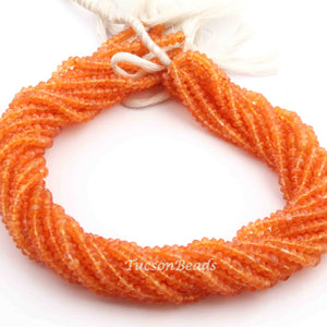 1 Strand Carnelian  Faceted Rondelles - Rounde Ball -Beads 4mm 13 Inches  BR3338 - Tucson Beads