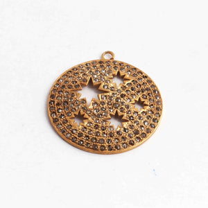 1 PC Yellow Gold Vermeil Round Disc Brass Pendant - Diamond Yellow Gold Vermeil Ronud Pendant 32mmx30mm PDC620 - Tucson Beads