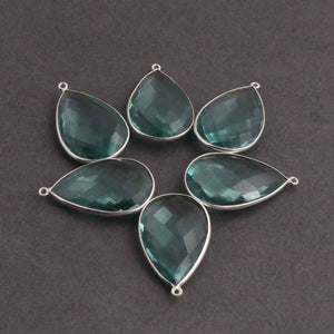 6 Pcs Apatite Faceted 925 Sterling Silver Pear Shape Single  Bail Pandant 30mmx18mm- SS1024