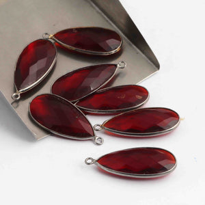 7 Pcs Garnet Faceted Oxidized Sterling Silver Pear Shape Pendant  Single Bali  30mmx13mm- SS1022 - Tucson Beads