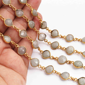 1 Feet Green Moonstone Heart Shape 24k Gold Plated Bezel Continuous Connector Beaded Chain 16mmx9mm SC288 - Tucson Beads