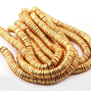 5 Stand Gold Plated Copper Wave Disc Beads,Plain Thin Chips Beads, Scratch Mat Finish Copper, Jewelry Supplies 8mm 8 Inch gpc1204