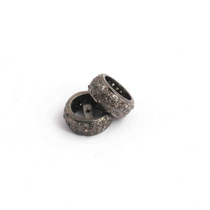 1 Pc Pave Diamond Three Line Spacer 925 sterling Silver Rondelles - Three Step Wheel Beads,Spacer. 12mm PDC281 - Tucson Beads
