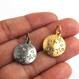 1 Pc Pave Diamond Round Charm 925 Sterling Silver,Matte Finish Silver,Sterling Vermeil Pendant - 19mmx16mm PDC736 - Tucson Beads
